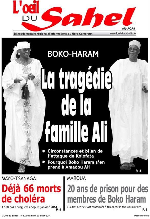 L'hebdomadaire L'Oeil du sahel - N° 622 du 29 juillet 2014